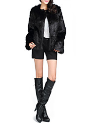Fur Coats Long Sleeve Faux Fur Jackets Black