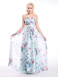Formal Evening Dress - Print Ball Gown Sweetheart Floor-length Chiffon
