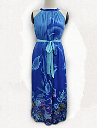 Women's Boho Blue Dress , Beach / Casual / Plus Sizes Halter Sleeveless
