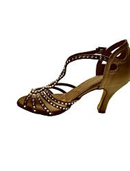 Non Customizable Women's Dance Shoes Latin / Swing Shoes / Salsa / Samba Satin Stiletto Heel Brown