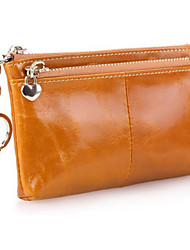 Fashion Women's Genuine Leather Wallet  Oil Wax  Wallet Double Zipper Female Short Coin Purse Key Bag