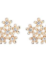 Elegant Ladies Flowers Retro Metal Diamond Snowflake Earrings
