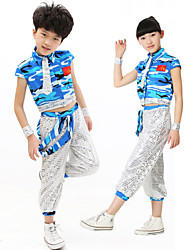 Jazz Outfits Children's Performance Sequined Sequins 2 Pieces Blue / Green Jazz Sleeveless Pants / Top