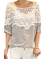 ocasional cape crochet t-shirt de manga gola batwing das mulheres