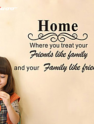 Home Where You Treat Your Friends Like Family Quote Wall Stickers Home Decor Decals