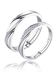 Couple Rings Band Rings Love Bridal Sterling Silver Zircon Circle Silver Jewelry For Wedding Party Gift Daily Valentine 2pcs