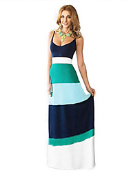 Women's Boho Plus Size / Swing Dress,Striped Strap Maxi Sleeveless Multi-color Polyester Spring