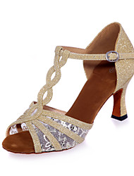 Non Customizable Women's Dance Shoes Lace / Sparkling Glitter Lace / Sparkling Glitter Latin Sandals Flared HeelProfessional / Indoor /