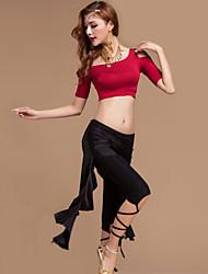 Dança do Ventre Roupa Mulheres Actuação Elastano / Poliéster Pano 3 Peças Calças / Top / Xale de Dança do VentreTop M: 33cm / L: 34cm