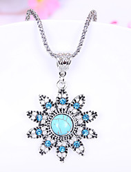 HUALUO®Sunflower Turquoise Necklace Rhinestone Earrings