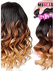 "3 PC / Los 16 ""-24"" 7a 3t indian lose Welle ombre Haareinschlagfäden Farbe 1b / 4/27 # reines Menschenhaar Webart Bundles"