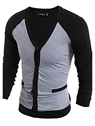 Herren Einfarbig Einfach Lässig/Alltäglich T-shirt,V-Ausschnitt Frühling Herbst Langarm Polyester Dünn