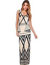 Women's Casual/Daily Sheath Dress,Color Block Round Neck Maxi Sleeveless White Cotton Fall