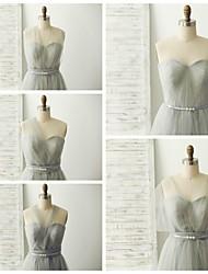 Vestido de Madrinha - Prateado A-Line Coração Longo Tule