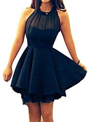Women's Solid Red/Black Dress,Cute Crew Neck Sleeveless