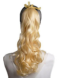 High Quality Low Price 24inch 100g Blonde Color Synthetic Ponytail Wavy Hair .