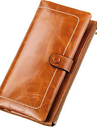 Unisex Cowhide Bi-fold Clutch / Wallet / Card & ID Holder / Mobile Phone Bag / Checkbook Wallet