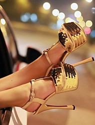 Women's Shoes Customized Materials Stiletto Heel Heels / Peep Toe / T-Strap Sandals Wedding / Party & Evening /
