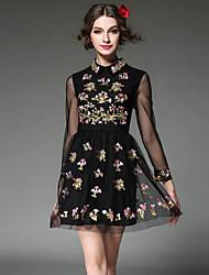 vestido de las mujeres de gran tamaño aofuli 2016 europa Vintage bordados ver a través vestido de fiesta elegante / informal de gasa manga larga