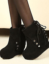 Women's Fall Winter Platform Fabric Casual Wedge Heel Platform Lace-up Studded Black