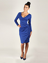 Women's Solid Color Blue / Beige Dresses , Bodycon / Party V-Neck Long Sleeve