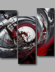 "Ready to Hang Stretched Hand-Painted Oil Painting Canvas Three Panels 36""x40"" Wall Art Modern Abstract Dark Red"