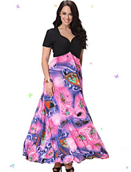 Women's Beach Plus Size Dress,Print / Patchwork V Neck Midi Short Sleeve Pink Spandex / Others Summer