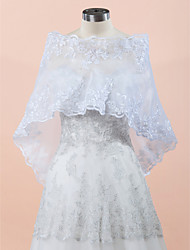 Wedding  Wraps Capelets Sleeveless Lace / Organza White Wedding / Party/Evening Off-the-shoulder Lace Hidden Clasp