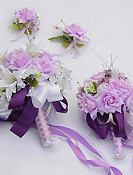 "Bouquets de Noiva Redondo Rosas / Lírios Conjunto de Flores Casamento / Festa / noite Seda / Organza / Enfeite 8.66""(Aprox.22cm)"