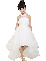 Fashion Kids Girl Dress Lace Mesh Flower Halter Bowknot Bridesmaid Party Wedding Dress White