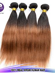 4pcs / lot del color 12-26inch brasileño pelo lacio pelo virginal ombre 1b / 27 del pelo humano sin procesar teje venta caliente.