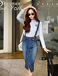 Pink Doll®Women's Blue Korea Maxi Brace Jeans Long Casual Skirts , Work / Casual / Day Midi Skirt