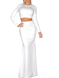Women's Solid White Dress,Maxi Crew Neck Long Sleeve