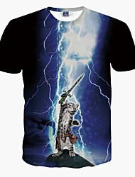 T-Shirts ( Coton mélangé ) Informel Rond à Manches courtes pour Unisexe