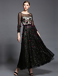 Formal Evening Dress Ball Gown Scoop Ankle-length Tulle / Charmeuse / Sequined with Beading / Flower(s) / Sash / Ribbon