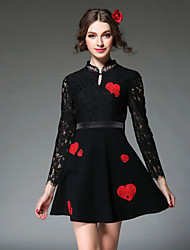 AOFULI Women Dress 2016 Vintage Bead Sexy Lace Embroidery Hollow Out Patchwork Slim Dress