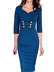 Women's Vintage Blue/Purple/Red V Neck ½ Length Sleeve Midi Dress