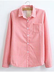Women's Striped Blue / Pink / Green Shirt , Shirt Collar Long Sleeve