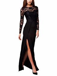Women's Thigh High Slit Long Sleeve Maxi Dress