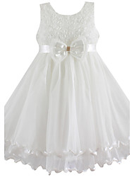 Girl's  White Bow Tulle Party Wedding Pageant Princess Kids Clothes Dresses