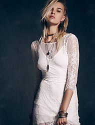 Women's Solid White Dress , Casual / Lace Round Neck ¾ Sleeve