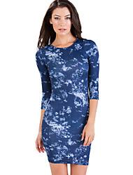 Women Dress Cloud Print Tie Dye Three Quarter Sleeve Mini Bodycon Dress