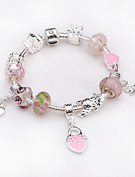 Women jewelry 925 Sterling Silver bracelet Murano Glass Crystal European Beads Strand heart charm Beads bracelets BLH032