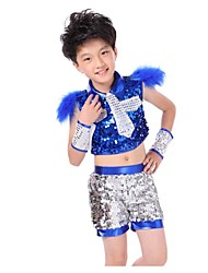 Jazz Outfits Unisex Performance Sequined Sequins 2 Pieces Blue / Gold