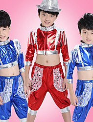 Jazz Outfits Children's Performance Sequined Sequins 2 Pieces Blue / Red