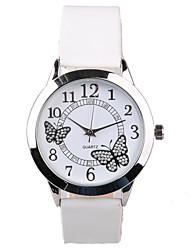 Женские Модные часы Кварцевый Защита от влаги PU Группа Блестящие Белый бренд-