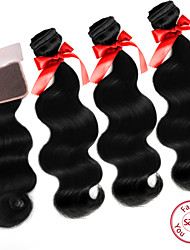 EVET Unprocessed Peruvian Virgin Human Hair Weft Body Wave Weave Bundles With Lace Closure