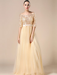 Ball Gown Bateau Neck Floor Length Tulle Charmeuse Sequined Formal Evening Dress with Beading Sash / Ribbon Sequins