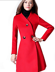 Women's Solid Red Coat , Casual / Party Long Sleeve Tweed