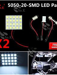 2x blanc 5050 a conduit 20 cms panneau carte dôme lumière intérieure + feston adaptateur t10